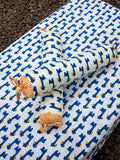 Set of 6 - Blue Giraffe GOTS Certified Organic Cotton Cot Bedding Set