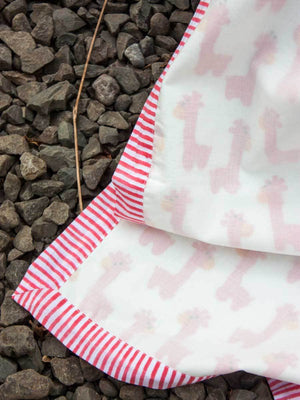 Pink Giraffe GOTS Certified Organic Cotton Reversible Dohar Blanket - Teen/Adult