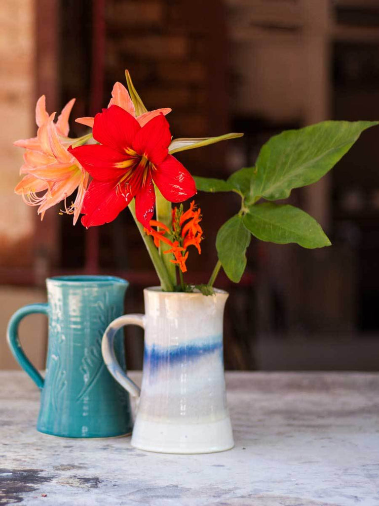 Floral Turquoise Hand-Thrown Ceramic Jug - Large Ceramics