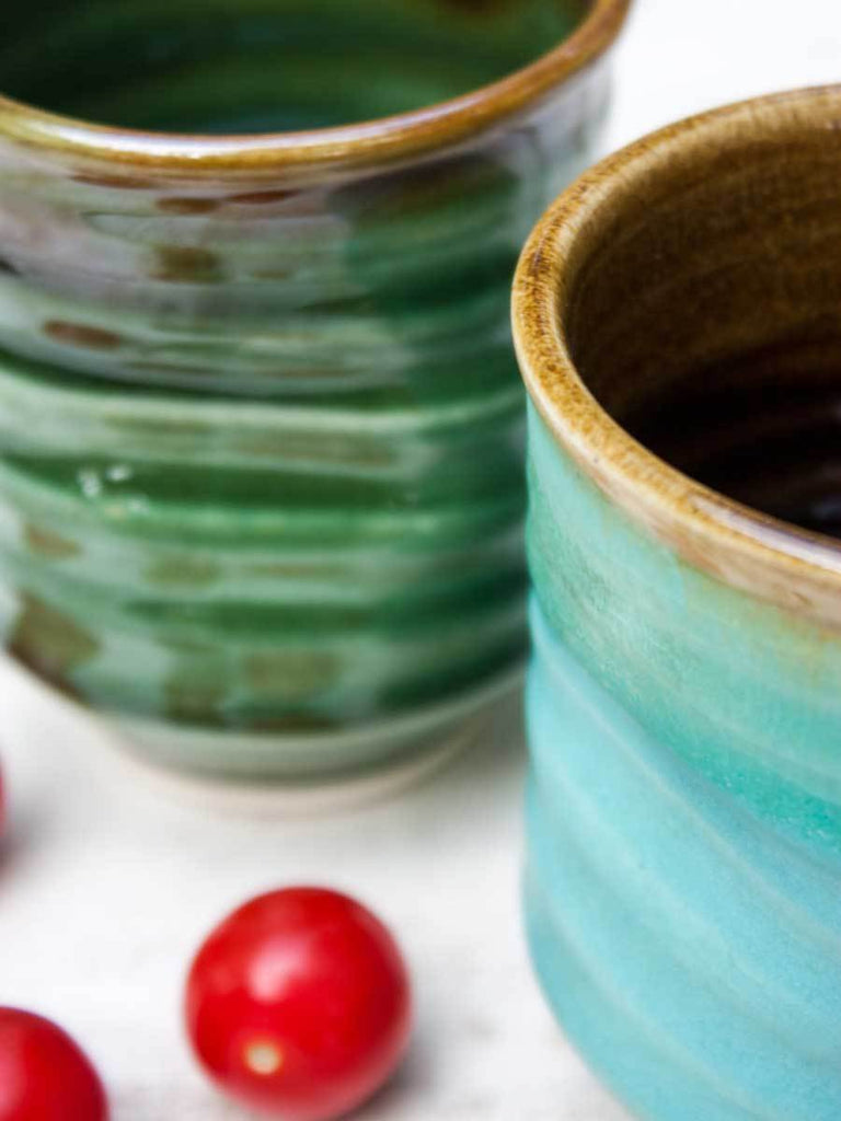 Whirlpool Turquoise Hand-Thrown Ceramic Tumbler - Pinklay