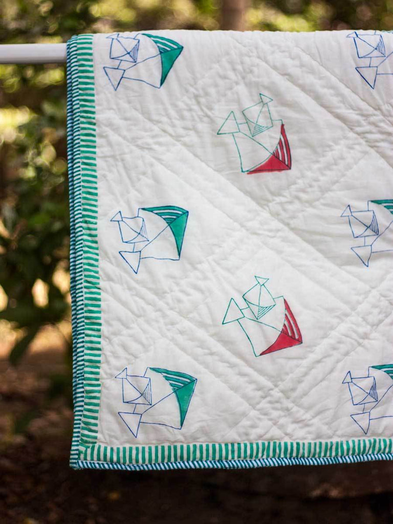 Kite GOTS Certified Organic Cotton Reversible Quilt for Infants and Toddlers - Pinklay