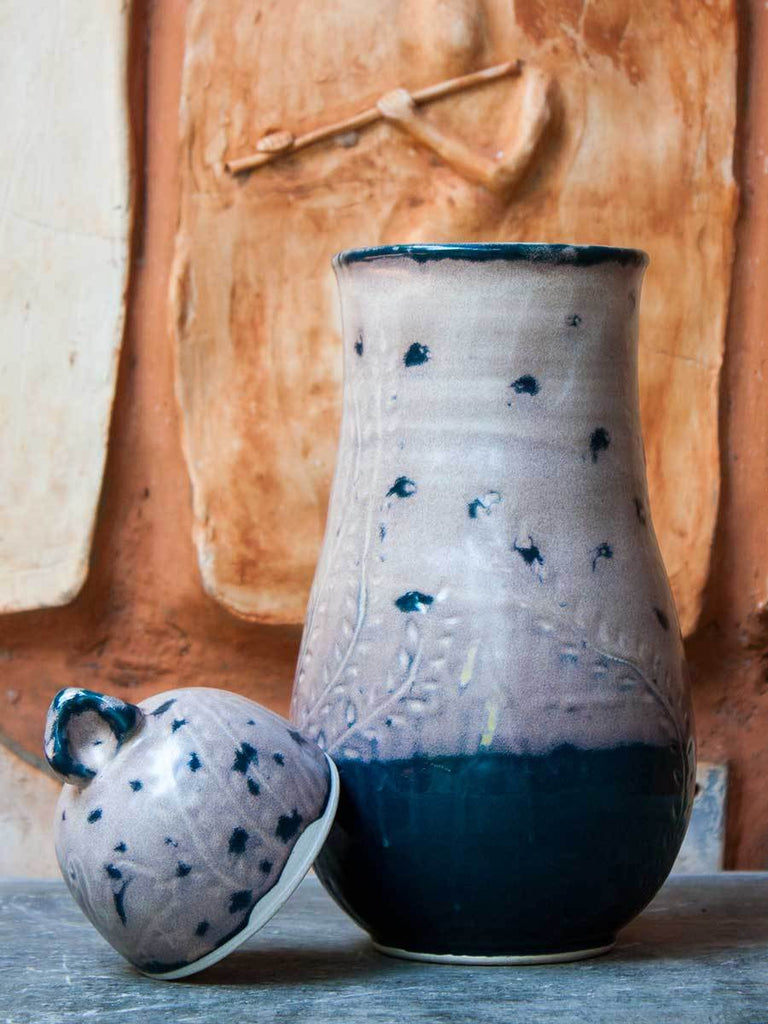 Spotted Indigo Hand-Thrown Carved Ceramic Jar - Large Ceramics