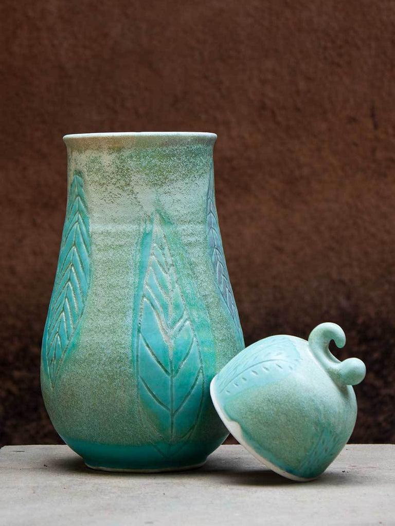 Turquoise Leaf Hand-Thrown Carved Ceramic Jar - Large Ceramics