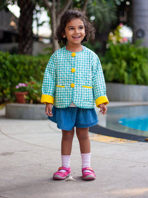 Aqua Fun Organic Cotton Quilted Tea Cup Jacket