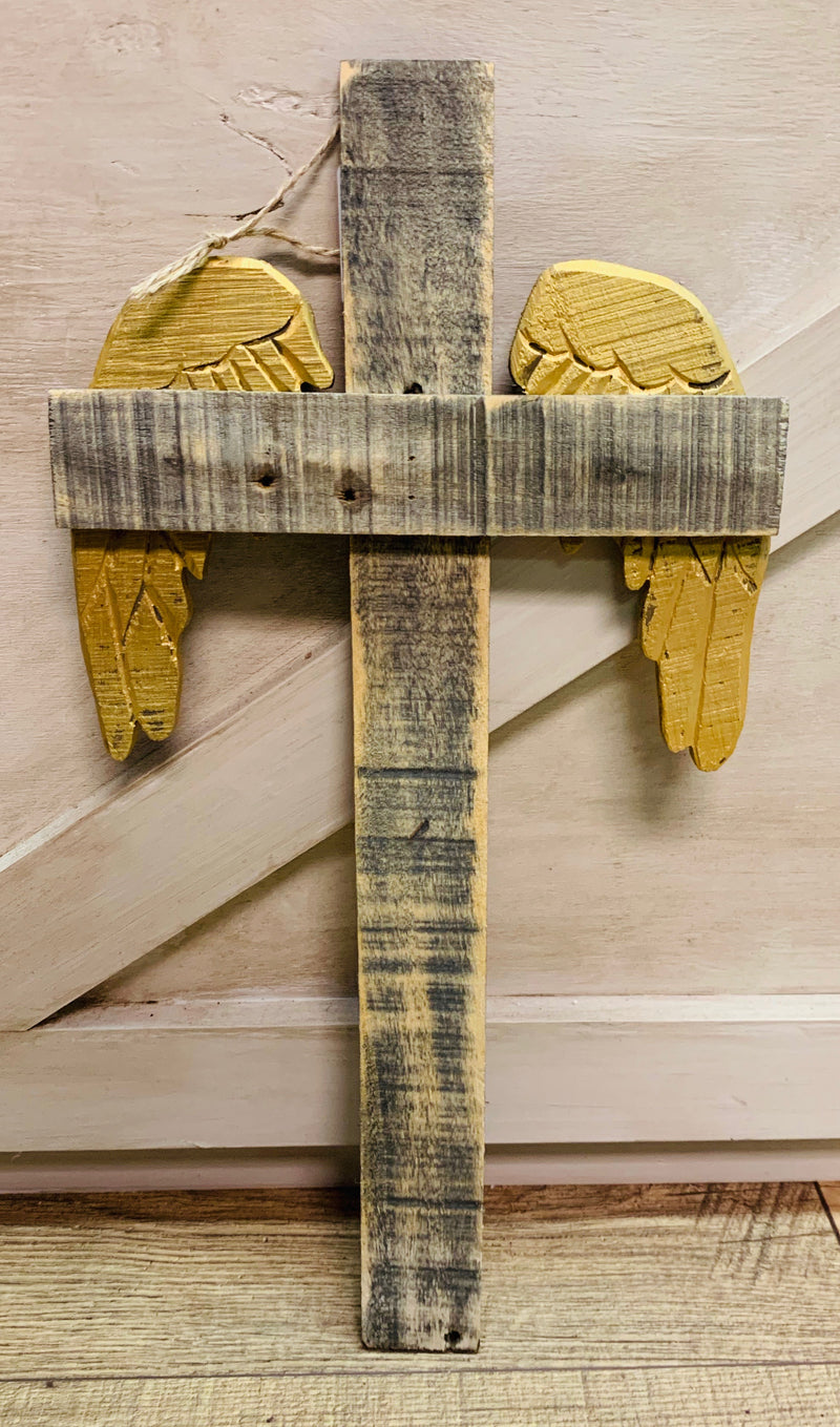Recycled Wood Winged Cross