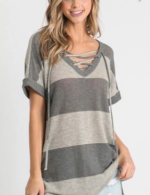 Charcoal Striped Criss Cross Tee