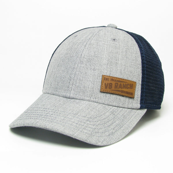 V8 Leather Patch Grey/Navy Trucker Cap