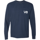 Navy Long Sleeve V8 Texas Swirls Tee Shirt