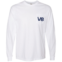 White Long Sleeve V8 Texas Swirls Tee Shirt