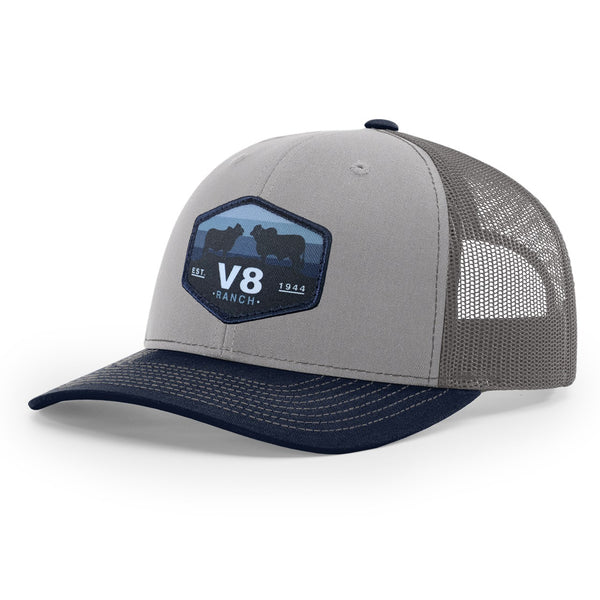 V8 Brahman Patch Navy & Grey Cap