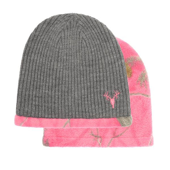 Ladies Knit Beanie, Reversible AP Pink Camo Hunting Continental Sports Inc.