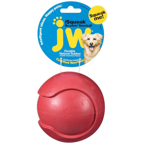 JW Isqueak Boouncin' Baseball Large Dog Supplies JW Pet Products