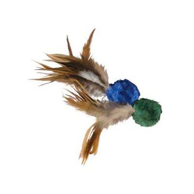 KONG Cat Natural Crinkle Ball w/Feathers Cat Supplies KONG