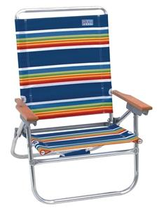Rio Brands In-Easy Out 4-Position Beach Chair, 250 Lb Load, 12 In, 35-1/2 In H X 25-1/4 In W X 25-1/2 In D Outdoor Furniture Rio brands