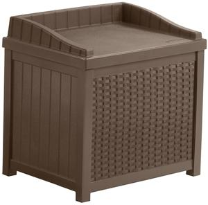 Suncast SSW1200 Wicker Storage Seat, 22 gal Weight Capacity, Resin, Java Outdoor Storage Suncast