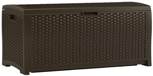 Suncast DBW7300 Wicker Deck Box, 73 gal Weight Capacity, Resin, Java Outdoor Storage Suncast