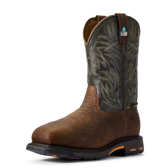 WorkHog Wide Square Toe MetGuard CSA MetGuard Composite Toe Work Boot Boots Ariat Brown 8 EE