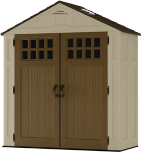 Suncast Everett BMS6310 Storage Shed, 94 cu-ft Capacity, 57 in W x 72 in H Door, Lockable Door, Resin