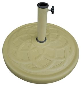 Seasonal Trends 69332 Umbrella Base, 21.65 in Dia, 21.65 in L, 13.2 in H, Resin/Steel/Plastic, Sandstone Outdoor Furniture Seasonal trends