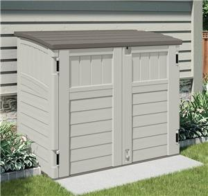 Suncast Stow-Away BMS2500 Storage Shed, 34 cu-ft Capacity, 46-1/4 in W x 40-1/4 in H Door, Padlockable Door, Resin Outdoor Storage Suncast