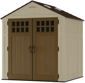 Suncast Everett BMS6510 Storage Shed, 201 cu-ft Capacity, 57 in W x 72 in H Door, Lockable Door, Resin Outdoor Storage Suncast