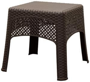 Adams 8071-60-3731 Woven Side Table, 18-1/2 in OAW, 18-1/2 in OAD, Polypropylene Frame, Brown Frame Outdoor Furniture Adams mfg