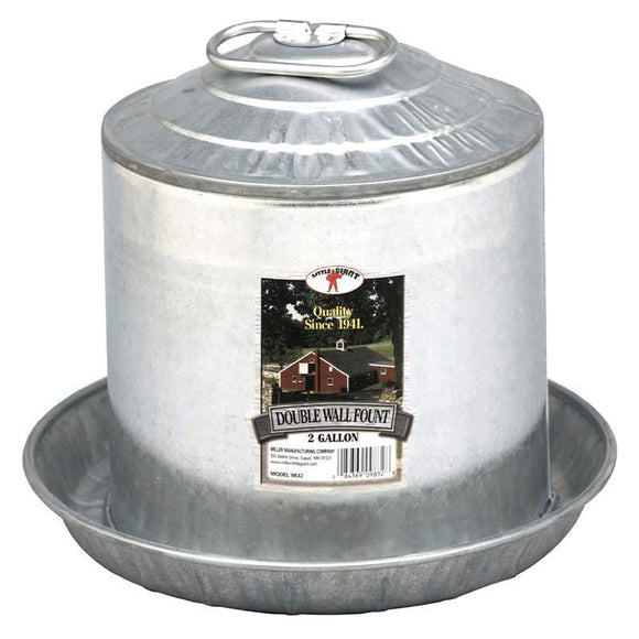 Fount - Double Wall - Galvanized Poultryfeeder Kane Vet Supplies 2 gallon