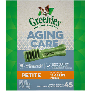 Greenies Complete Aging Care Dental Treats for Dogs Petite 27oz Dog Food Greenies