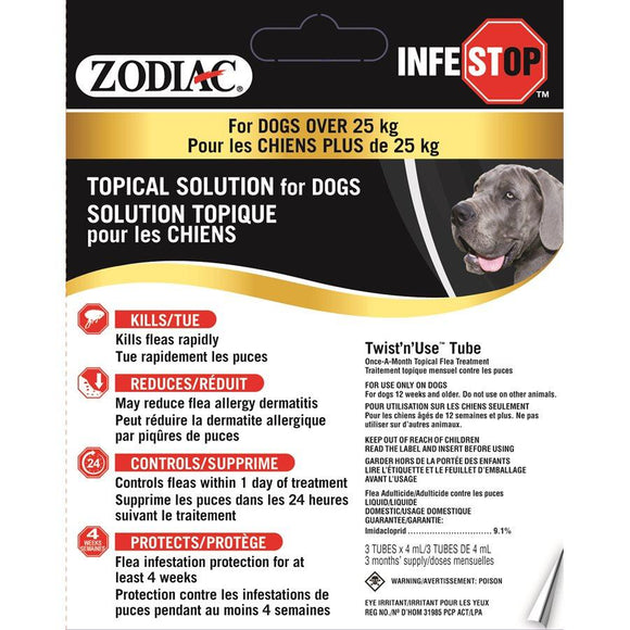 Zodiac Infestop Topical Flea Adulticide for Dogs Over 25KG Dog Supplies Zodiac