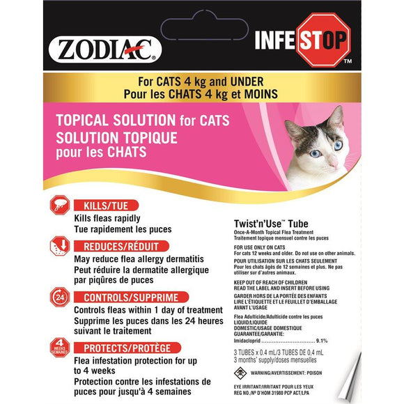 Zodiac Infestop Topical Flea Adulticide for Cats Under 4KG Cat Supplies Zodiac