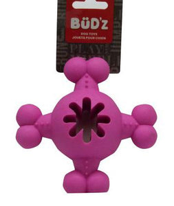 Bud'z Rubber Round Bone Dog Toy with Middle Treat Hole Pink 3.5in KB Depot Express