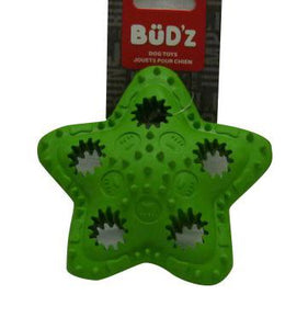 Bud'z Rubber Tough Treat Star Green Dog Toy 4.5in KB Depot Express