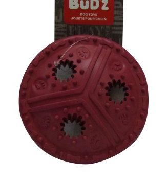 Bud'z Rubber Tough Treat Disc Pink Dog Toy 4.5in KB Depot Express