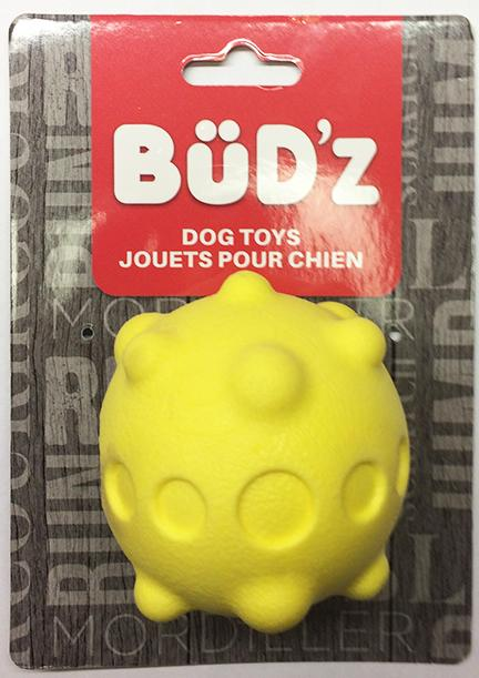 Bud'z Yellow Foam Rubber Ball For Dogs KB Depot Express