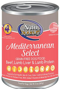 Nutri Source Mediterranean Select Grain Free Beef, Liver and Lamb Canned Dog Food 12x13oz KB Depot Express