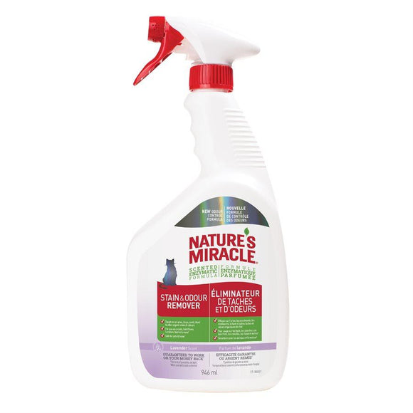 Spectrum Nature's Miracle Just for Cats Stain & Odor Remover Lavender Spray 32oz Cat Supplies Spectrum Brands