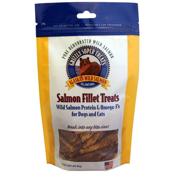 Grizzly Salmon Cat/Dog Fillet Treats 3oz Dog Supplies Grizzly Pet Products