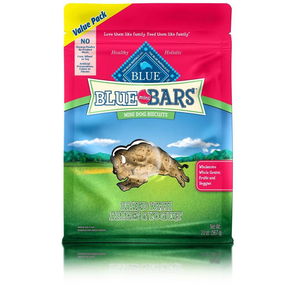 Blue Mini Bars Apple & Yogourt Biscuits Value Size 6/20 oz Dog Treats Blue Buffalo