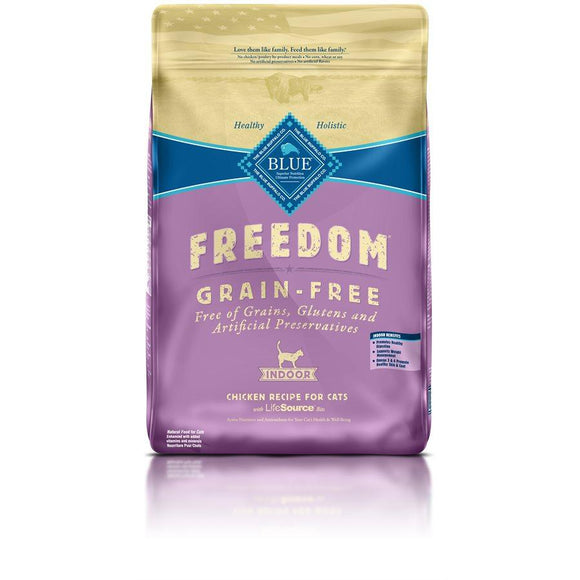 Blue Freedom Grain Free Adult Indoor Chicken Recipe 11LB Cat Food Blue Buffalo