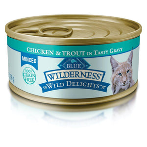 Blue Wilderness Wild Delights Adult Minced Chicken & Trout Recipe 24/5.5 oz Cat Food Blue Buffalo
