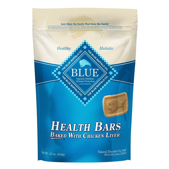 Blue Health Bars Baked Chicken Liver 12/16oz Dog Treats Blue Buffalo