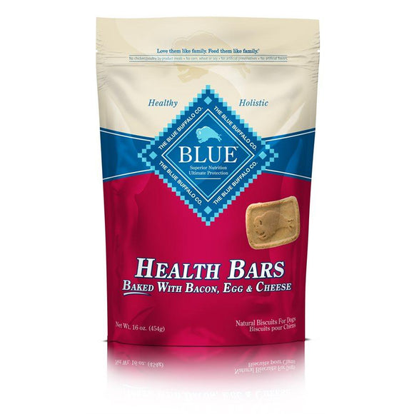 Blue Health Bars with Bacon, Egg & Cheese 4/16oz Dog Treats Blue Buffalo