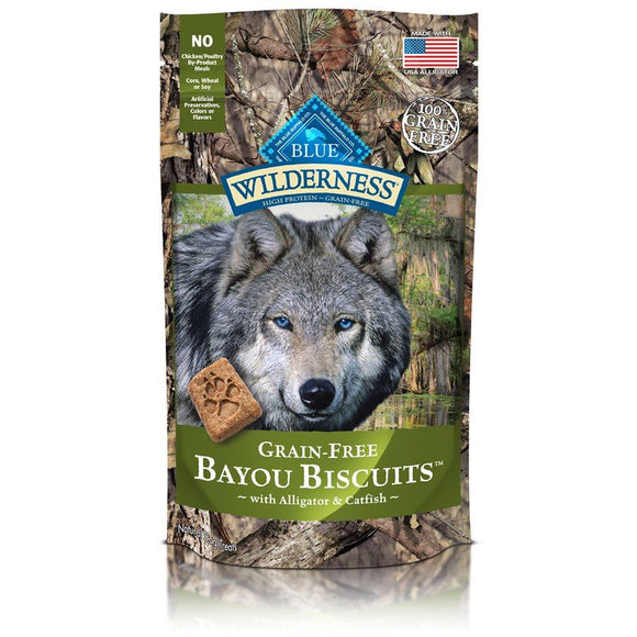 Blue Wilderness Bayou Biscuits Grain Free Alligator & Catfish 6/8 oz Dog Treats Blue Buffalo