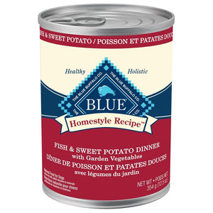 Blue Homestyle Recipe Adult Fish & Sweet Potato Dinner with Garden Vegetables 12/12.5 oz Dog Food Blue Buffalo