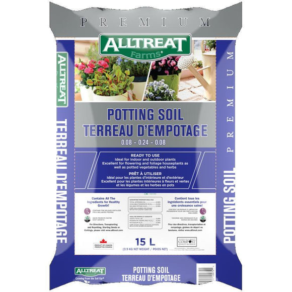 Alltreat Farms Potting Soil 0.08-0.24-0.08 15L Lawn and Garden Alltreat Farms
