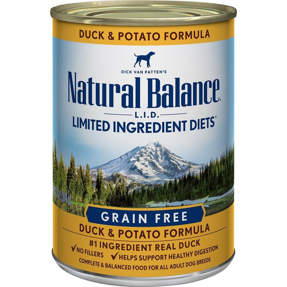 Natural Balance Dog LID Duck & Potato Formula Cans 12/13oz Dog Food Natural Balance