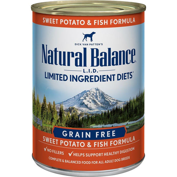 Natural Balance Dog LID Fish & Sweet Potato Formula Cans 12/13oz Dog Food Natural Balance