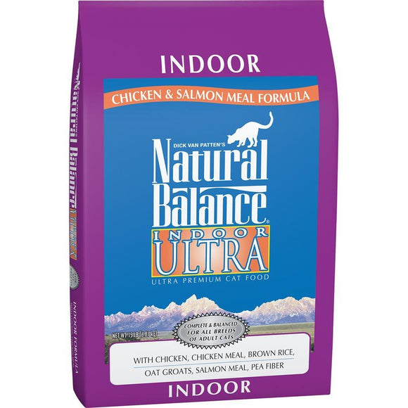 Natural Balance Cat Indoor Chicken Meal & Salmon Meal Formula 15LB Cat Food Natural Balance