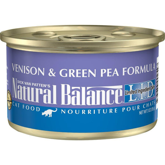Natural Balance Cat LID Venison & Green Pea Formula Cans 24/3oz Cat Food Natural Balance