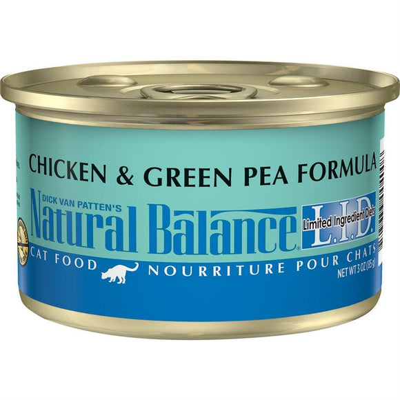 Natural Balance Cat LID Chicken & Green Pea Formula Cans 24/3oz Cat Food Natural Balance